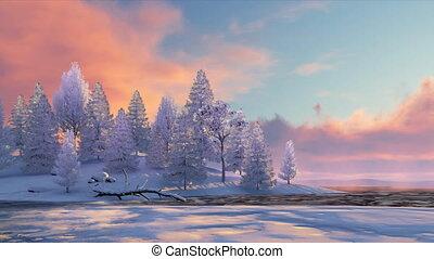 Winter fir forest and frozen river at sunset