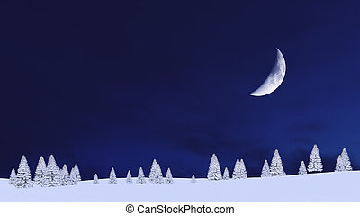 Winter fir forest and night sky with half moon