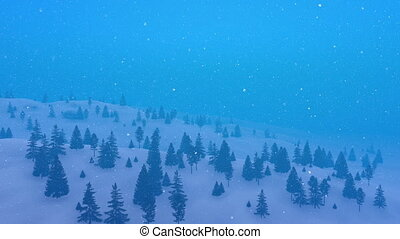 Winter fir forest at heavy snowfall aerial view 4K - Aerial...