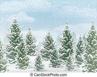 Winter fir tree forest - Winter landscape. The background of...