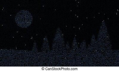 Winter fir tree silhouettes from matrix code 4K - Simple...