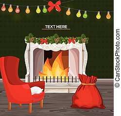 Winter fireplace chimney and Christmas presents Vector cartoon style