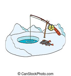 Winter fishing. Hand-drawn vector Illustration on white background