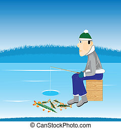 Winter fishing on river