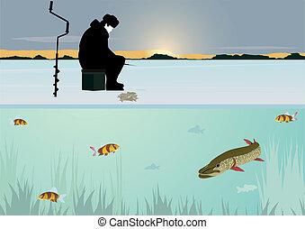 Winter fishing on the lake