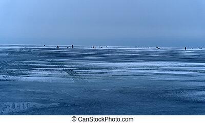 Winter fishing on the sea.