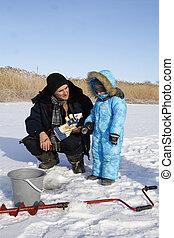 Winter fishing with grandpa