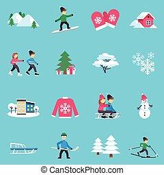 Winter Flat Icons Set