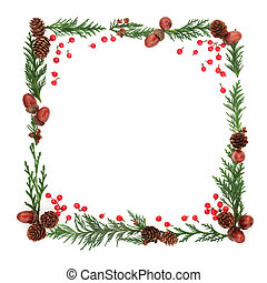 Winter Flora and Holly Berry Frame