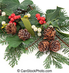 Christmas flora with holly, ivy, mistletoe, pine cones and winter greenery over white background.