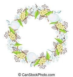 Winter floral bouquet wreath vector.