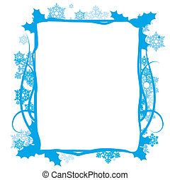 Winter floral frame, vector