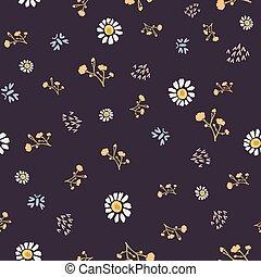 Winter Flower Daisy Motif on Dark Brown Background. Naive ...