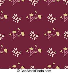 Winter Flower Daisy Motif on Dark Red Background. Naive ...