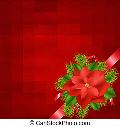 Winter Flower With Red Background