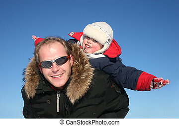 winter fly child with father