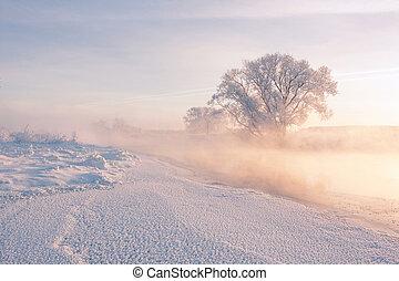 Winter fog over the river