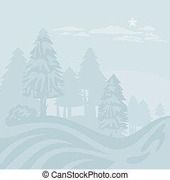Winter Foggy Landscape - Winter foggy landscape with...