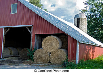Winter Food - Hay bales in barn.