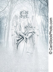 Winter Forest Angel - Angelic female figure materialising in...