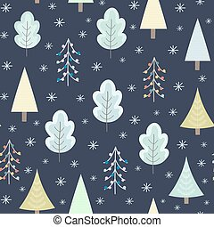 Winter forest at night seamless pattern