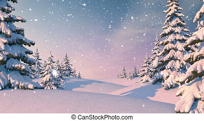 Winter Forest, Christmas Background. Beautiful 3d animation,...