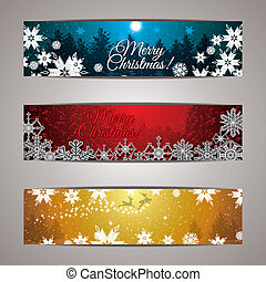 Winter forest colorful background banner set