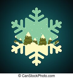 Winter forest in snowflake shape border