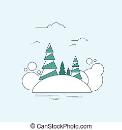 Winter Forest Landscape Christmas Background, Pine Snow