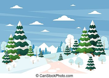 Winter Forest Landscape Christmas Background, Pine Snow...