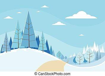 Winter Forest Landscape Christmas Background, Pine Snow ...