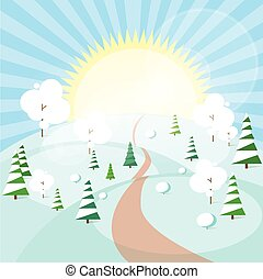 Winter Forest Landscape Christmas Background, Pine Snow Trees Woods