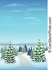 Winter Forest Landscape Christmas Background, Pine Snow Trees