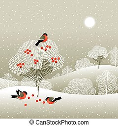 Winter forest landscape with bullfinches which are pecking ...