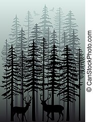 Winter forest, vector - Foggy winter forest with deer, birds...