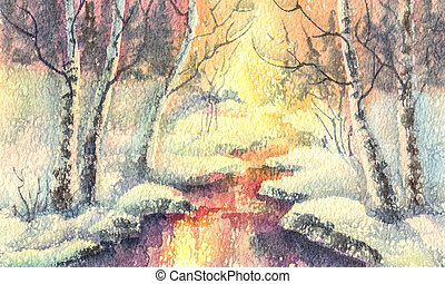 winter forest watercolor landscape