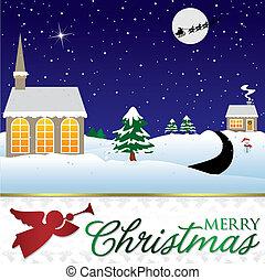 winter, format., szene, vektor, weihnachtskarte
