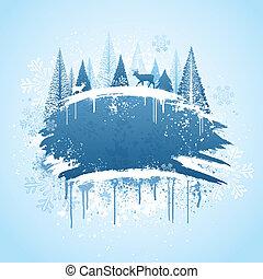 Winter forrest grunge design - Blue and white winter forrest...