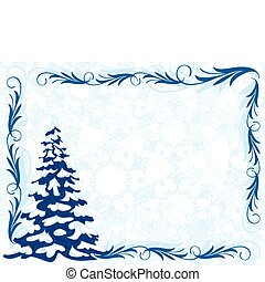 winter frame - Winter background with Christmas tree and...