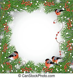 Winter frame with bullfinches