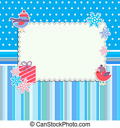 Winter frame with cute birds and snowflakes