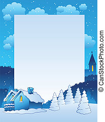 Winter frame with small village - vector illustration.
