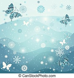 Winter frame with snowflakes and butterflirs