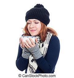 winter, frau, genießen, heißes getränk