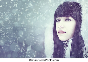 Winter fresh. Female portrait with copy space for your design