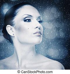 winter, frische, abstrakt, weibliche , porträt, mit, fallender , schnee, als, hintergrund