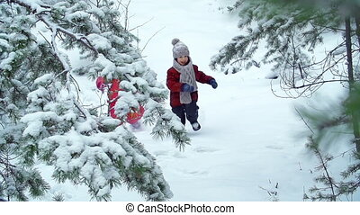 Winter Frolics - Slow motion of two little friends running...