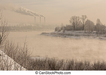 Winter frost haze landscape on the river