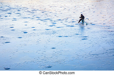 winter, frost, see, eis fischen, zeit