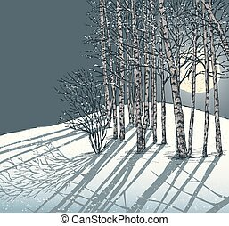 winter frosty night - Vector image of a night winter ...